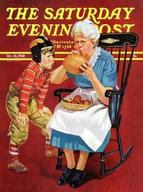"""Grandma and Football,"" Saturday Evening Post Cover, October 26, 1940 by Russell Sambrook"