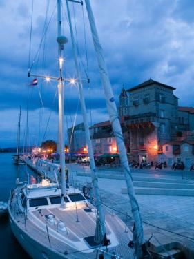 Sailboat in Harbor, Trogir, Croatia by Russell Young