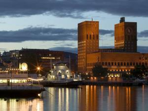Town Hall from Aker Brygge, Norway by Russell Young