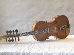 Traditional Hardanger Fiddle with Mother-of-Pearl Inlay, Rosing, Norway by Russell Young