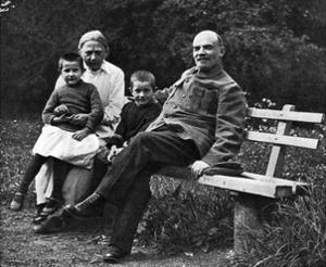 Russian Bolshevik Leader Vladimir Lenin and His Wife Nadezhda, Gorki, Russia, 1922