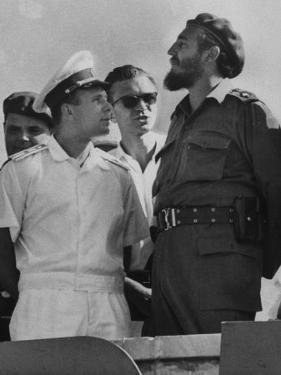 Russian Major Yuri A. Gagarin and Cuban President Fidel Castro, During July 26th Celebrations