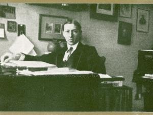 Russian Musician, Igor Stravinsky (1882-1971) at His Desk