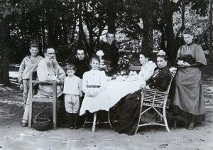 Family Portrait of the Author Leo N. Tolstoy, from the Studio of Scherer, Nabholz and Co. by Russian Photographer