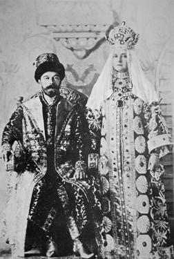 Tsar Nicholas Ii and Tsaritsa Alexandra in Full Coronation Regalia, May 1896 (B/W Photo) by Russian Photographer