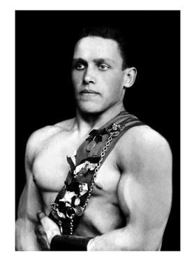 Russian Wrestler with Medals