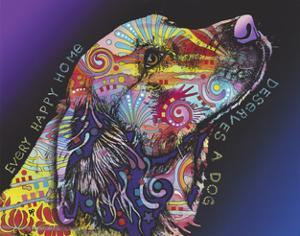 Every Happy Home, Deserves a Dog, Pets, Dogs, Purple fade, Looking up, Animals, Pop Art, Stencils by Russo Dean