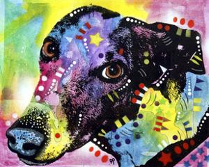 Greyt, Dogs, Greyhound, Pets, Look up, Begging, Pop Art, Colorful, Stencils by Russo Dean