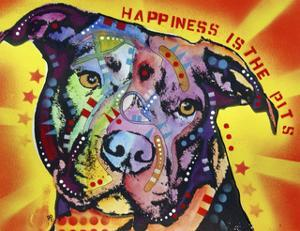Happiness Is The Pits Sunray, Dogs, Pets, Pit Bull, red and yellow, Pop Art, Stencils, Motivational by Russo Dean