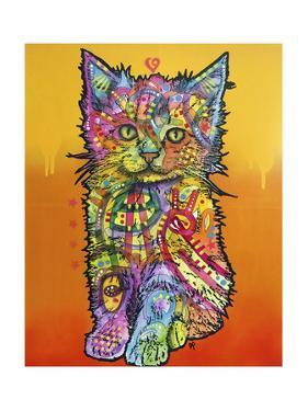 Love Kitten, Cats, Kitty, Kitties, Stencils, Pop Art, Orange fade to yellow, Pets by Russo Dean
