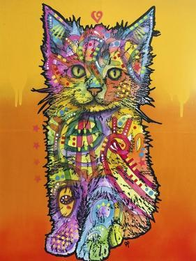 Love Kitten, Cats, Kitty, Kitties, Stencils, Pop Art, Orange fade to yellow, Pets by Russo Dean
