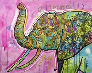 Not A Commodity, Elephants, Animals, Tusks, Trunk, Pink, Watercolor, Flowers, Pop Art by Russo Dean