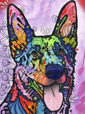 Shepherd Love, Dogs, Pets, Ears, Happy, Panting, Tongue, Love, Pop Art, Colorful, Stencils by Russo Dean