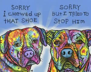 Sorry, I chewed up that shoe, sorry but i tried to stop him, Dogs, Guilty, Pets, Pop Art by Russo Dean