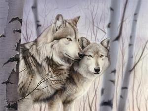 Two Wolves in the Birches by Rusty Frentner
