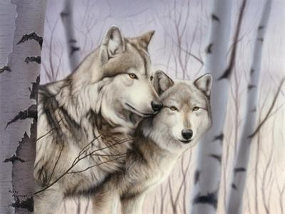 Two Wolves in the Birches