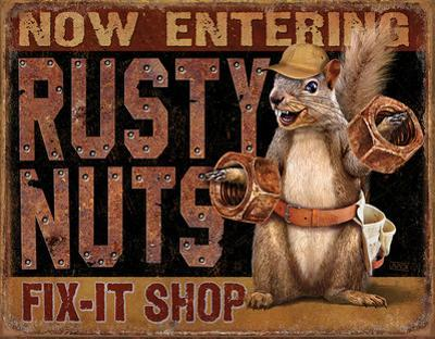 Rusty Nuts Fix It Shop Tin Sign