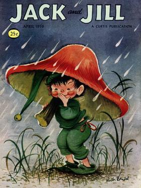 Elf in the Rain - Jack and Jill, April 1956 by Ruth Bendel