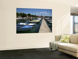Boats in Harbour Beside Obala Hrvatske Mornarice Promenade with Tower of Krk Cathedral Beyond by Ruth Eastham & Max Paoli