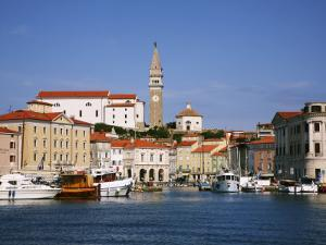 Boats in Piran Marina with Tartinijev Square by Ruth Eastham & Max Paoli