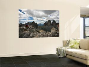 """Climber on """"Cima Dei Scarperi"""" Peak Looking Out to Paterno Peaks by Ruth Eastham & Max Paoli"""