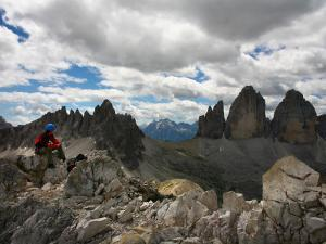 "Climber on ""Cima Dei Scarperi"" Peak Looking Out to Paterno Peaks by Ruth Eastham & Max Paoli"