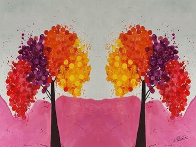 Pink Folksy Trees by Ruth Palmer