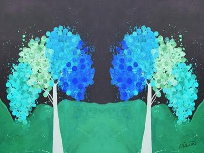 Teal Green Folksy Trees by Ruth Palmer