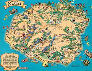 Affordable maps of hawaii posters for sale at allposters hawaiian island of kauai map hawaii tourist bureau by ruth taylor white gumiabroncs Gallery