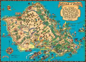 Hawaiian Island of Oahu Map by Ruth Taylor White