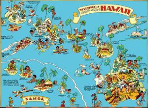 Map of the Territory of Hawaii - American Samoa - Pictorial Map by Ruth Taylor White