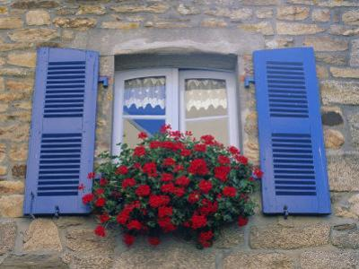 Blue Shuttered Windows and Red Flowers, Concarneau, Finistere, Brittany, France, Europe by Ruth Tomlinson