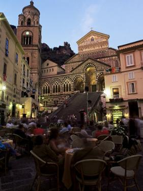 Busy Pavement Cafe at Dusk, with the Cathedral Beyond, Amalfi, Campania, Italy by Ruth Tomlinson