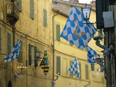 Flags of the Onda (Wave) Contrada in the Via Giovanni Dupre, Siena, Tuscany, Italy, Europe by Ruth Tomlinson