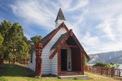 Historic Maori church on hillside above Akaroa Harbour, Onuku, near Akaroa, Banks Peninsula, Canter