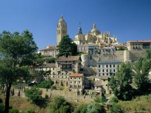 Houses and the Cathedral from the South of the City of Segovia, Castilla Y Leon, Spain by Ruth Tomlinson