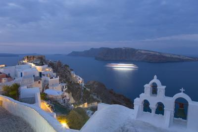 Illuminated Cruise Ship Entering the Caldera at Dawn, Oia (Ia), Santorini (Thira) (Thera) by Ruth Tomlinson