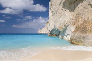 Limestone Cliffs Towering Above Turquoise Sea, Navagio Bay, Anafonitria by Ruth Tomlinson