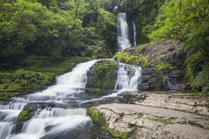 McLean Falls on the Tautuku River, Chaslands, near Papatowai, Catlins Conservation Area, Clutha dis by Ruth Tomlinson