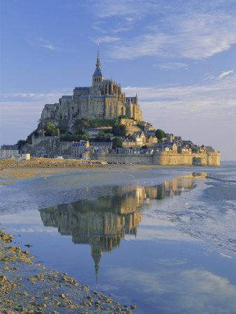 Mont St. Michel (Mont Saint-Michel) Reflected in Water, Manche, Normandy, France, Europe