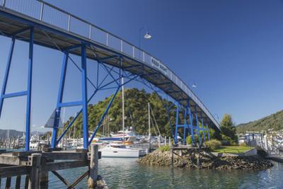 The Coathanger Bridge spanning the marina, Picton, Marlborough, South Island, New Zealand, Pacific