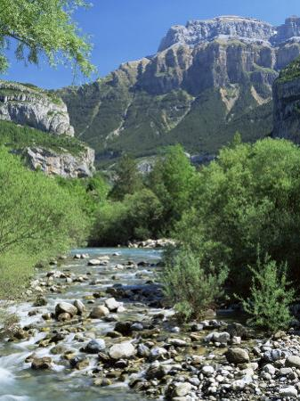 Torla, the River Ara and Mondarruego, Huesca, Pyrenees, Aragon, Spain by Ruth Tomlinson