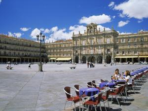 Two Girls at Cafe Table, Plaza Mayor, Salamanca, Castilla Y Leon, Spain by Ruth Tomlinson