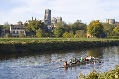 View across the River Wear to Durham Cathedral, Female College Rowers in Training, Durham by Ruth Tomlinson
