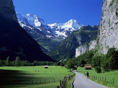 View Along Valley to the Breithorn, Lauterbrunnen, Bern, Switzerland