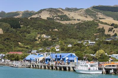 View from Akaroa Harbour to the Main Wharf, Akaroa, Banks Peninsula, Canterbury, South Island, New