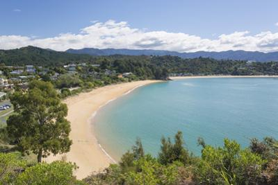 View from hillside over the sandy beach at Little Kaiteriteri, Kaiteriteri, Tasman, South Island, N