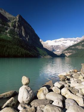 View to Mount Victoria Across the Emerald Waters of Lake Louise, Alberta, Canada by Ruth Tomlinson
