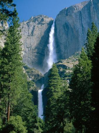 Waterfalls Swollen by Summer Snowmelt at the Upper and Lower Yosemite Falls, USA