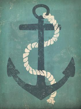 Nautical Anchor Vertical Blue by Ryan Fowler